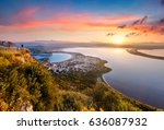 colorful spring view of the... | Shutterstock . vector #636087932