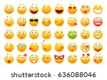 set of 3d cute emoticons. emoji ... | Shutterstock .eps vector #636088046