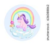 illustration of little unicorn... | Shutterstock .eps vector #636088862