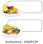 fruit and vegetable plates with ... | Shutterstock .eps vector #63609139