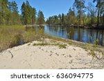 river spring landscape. spring... | Shutterstock . vector #636094775