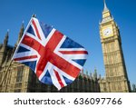 united kingdom flag waving in... | Shutterstock . vector #636097766