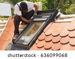 installation of mansard windows ... | Shutterstock . vector #636099068