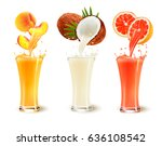 set of fruit juice splash in a... | Shutterstock .eps vector #636108542