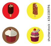 set of ice creams and cupcakes... | Shutterstock .eps vector #636108596
