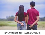 teenage lovers couple over... | Shutterstock . vector #636109076