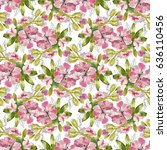 pink watercolor flowers and... | Shutterstock . vector #636110456