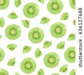 seamless vector watercolor kiwi ...   Shutterstock .eps vector #636127688