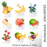 big collection of fruit in a... | Shutterstock .eps vector #636140552