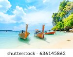 longtale boat on the white... | Shutterstock . vector #636145862