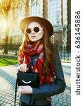 outdoor waist up portrait of... | Shutterstock . vector #636145886