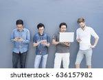 multiethnic group of college... | Shutterstock . vector #636157982