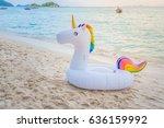 unicorn swim tube on the beach  ... | Shutterstock . vector #636159992