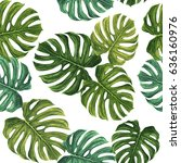 tropical pattern with green... | Shutterstock .eps vector #636160976