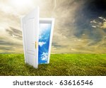 open door to new life on the... | Shutterstock . vector #63616546