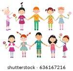 children on a white background | Shutterstock .eps vector #636167216