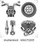 motorcycle black isolated icon... | Shutterstock .eps vector #636172205