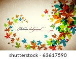 autumn background   falling... | Shutterstock .eps vector #63617590