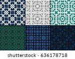 set of seamless geometric... | Shutterstock .eps vector #636178718