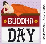poster with buddha lied down... | Shutterstock .eps vector #636178856