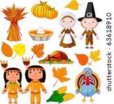 illustrated set of thanksgiving ...   Shutterstock .eps vector #63618910