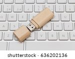 Usb Flash Drive Wooden On Whit...
