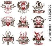 set of vintage viking labels.... | Shutterstock .eps vector #636202802