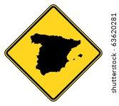 spain map road sign in yellow ... | Shutterstock . vector #63620281