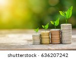 tree growing on coins stack... | Shutterstock . vector #636207242