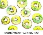 kiwi fruit watercolor pattern.... | Shutterstock . vector #636207722