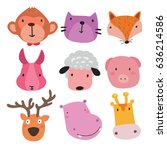 animals character design | Shutterstock .eps vector #636214586