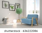 white modern room with armchair.... | Shutterstock . vector #636222086