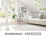 white room with sofa and green... | Shutterstock . vector #636222122