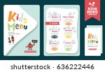 cute colorful kids meal menu... | Shutterstock .eps vector #636222446