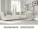 white room with sofa and green... | Shutterstock . vector #636222632