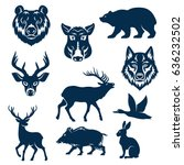 wild animals and birds for... | Shutterstock .eps vector #636232502