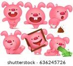 pink bunny emoji character set... | Shutterstock .eps vector #636245726