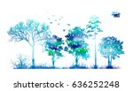 trees in the forest. blue... | Shutterstock .eps vector #636252248