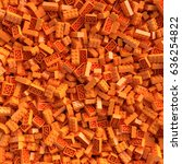 orange toy bricks background.... | Shutterstock . vector #636254822