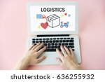 logistics concept on a device... | Shutterstock . vector #636255932