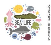 vector. set of sea life animals....   Shutterstock .eps vector #636260102