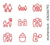 mom icons set. set of 9 mom... | Shutterstock .eps vector #636266792