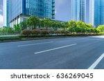 empty asphalt road front of... | Shutterstock . vector #636269045