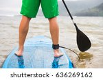 paddleboard man paddling on sup ... | Shutterstock . vector #636269162