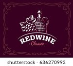bottle of wine and grapes logo  ... | Shutterstock .eps vector #636270992
