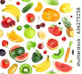 fruits and vegetables seamless... | Shutterstock . vector #636275258