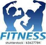 A Blue Letter Fitness Sign With ...