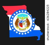 us state with flag for missouri | Shutterstock . vector #636284225