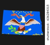 us state with flag for north... | Shutterstock . vector #636284315