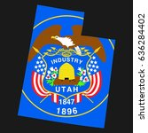 us state with flag for utah | Shutterstock . vector #636284402